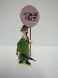 """Hergé Moulinsart -  Tournesol """"Joyeuses Pâques"""" -  Figurine Carte de voeux 1972 - 1er série - Amazonie BD"""