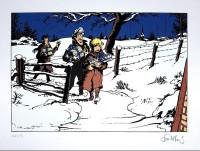 François Walthéry - Natacha sérigraphie - Carte de Voeux de Tintin par Hergé - Amazonie BD